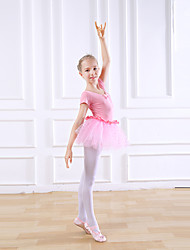 cheap -Kids' Dancewear / Ballet Dresses Girls' Training / Performance Cotton Bow(s) / Lace Short Sleeve Natural Dress