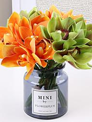 abordables -Fleurs artificielles 6 Une succursale Classique Européen Style Simple Orchidées Fleurs éternelles Fleur de Table