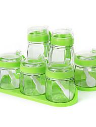 billige -Høy kvalitet med Glass Oppbevaringskasser / Flasker & Glass For kjøkkenutstyr Kjøkken Oppbevaring 6 pcs