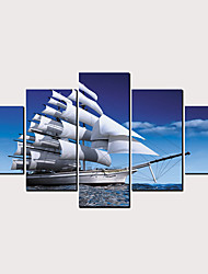 hesapli -Boyama Haddelenmiş Kanvas Tablolar - Manzara Akuatik & Denizcilik Klasik Modern Beş Panelli