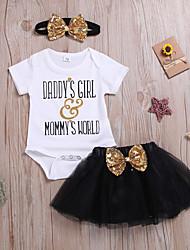 hesapli -Bebek Genç Kız Actif / Temel Desen Fiyonklar / Örümcek Ağı / Desen Kısa Kollu Normal Normal Pamuklu Kıyafet Seti Gökküşağı