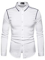 preiswerte -Herrn Solide / Einfarbig Hemd Patchwork Schwarz L