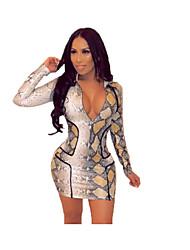 abordables -Femme Mini Moulante Robe Gris M L XL Manches Longues