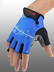 Недорогие -BOODUN Перчатки для велосипедистов Горные велосипеды Дышащий Противозаносный Впитывает пот и влагу Защитный Полупальцами Спортивные перчатки Лайкра Махровая ткань Зеленый Синий Грубый черный для