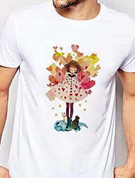 お買い得  -男性用 Tシャツ カートゥン ホワイト XL