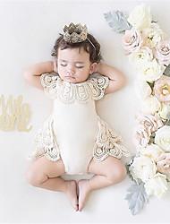 hesapli -Bebek Genç Kız Actif Solid Kısa Kol Pamuklu / Splandeks Tek Parça Beyaz