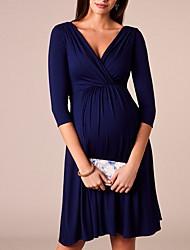 Недорогие -Жен. Тонкие Рубашка Платье V-образный вырез До колена