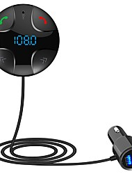 Недорогие -Смарт-автомобильное зарядное устройство mp3-карты Bluetooth-плеер FM-передатчик Dual USB прикуривателя для универсального черный серый