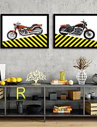 cheap -Framed Canvas Framed Set - Transportation Plastic Illustration Wall Art
