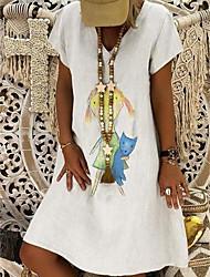 baratos -Mulheres Elegante Evasê Vestido Geométrica Altura dos Joelhos