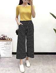 baratos -Mulheres Básico Perna larga Calças - Listrado / Xadrez / Quadrados / Pontos Branco