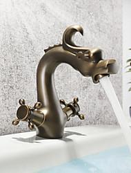 hesapli -Banyo Lavabo Bataryası - Yaygın Antik Bakır Tek Gövdeli İki Kolları Tek DelikBath Taps
