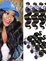 お買い得  -6バンドル マレーシアンヘア ウェーブ 未処理人毛 100%レミヘアウィッグバンドル ヘッドピース 人間の髪編む ワンパックソリューション 8-28 インチ ナチュラル 人間の髪織り 無臭 安全用具 持ち運びが容易 人間の髪の拡張機能 女性用
