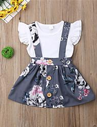 hesapli -Bebek Genç Kız Boho Çiçekli Fırfırlı / Desen Kısa Kollu Normal Pamuklu / Polyester / Splandeks Kıyafet Seti Beyaz