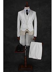 c18a28a525b5 billiga Kostymer till skolavslutningen-mjölkvit Enfärgad / Randig  Standardpassform Bomull / Polyester Kostym - Spetsig