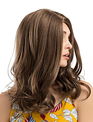 cheap -Synthetic Wig / Ombre Curly / Natural Wave Style Middle Part Capless Wig Brown Brown Synthetic Hair 18 inch Women's Synthetic / New / Hot Sale Brown Wig Medium Length Cosplay Wig