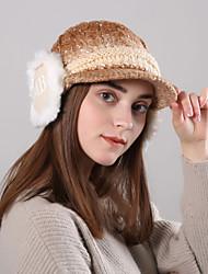 voordelige -Dames Actief Standaard leuke Style Acryl,Kleurenblok Floppy hoed-Herfst Winter Roze / wit Licht Blauw Khaki