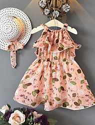お買い得  -子供 女の子 ボヘミアン ストリートファッション フラワー プリント ノースリーブ レーヨン ポリエステル ドレス ピンク