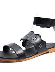 cheap -Women's PU(Polyurethane) Summer Sandals Flat Heel Open Toe Stitching Lace Black / Silver