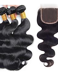 levne -3 balíčky s uzavřením Brazilské vlasy Vlnité Nezpracované lidské vlasy 100% Remy vlasy Weave svazky Lidské vlasy Vazby Bundle Hair Jeden balíček Solution 8-20 inch Přírodní barva Lidské vlasy Vazby