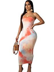 economico -abito midi slim aderente da donna senza spalline arrossendo rosa arancia m mx xl