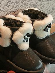 tanie -Dla dziewczynek Obuwie Skóra Zima Śniegowce Botki na Czarny / Jasnobrązowy