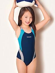 お買い得  -子供 女の子 活発的 / ベーシック カラーブロック ノースリーブ ポリエステル 水着 ルビーレッド