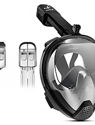 Недорогие -Маска для снорклинга Полнолицевые Единое окно - Дайвинг Силикон - Назначение Взрослые Черный / С защитой от протекания / Противо-туманное покрытие / Сухая трубка