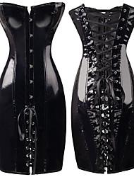 Недорогие -женский корсет платье стимпанк мокрый вид искусственная кожа винтажный клуб бюстье