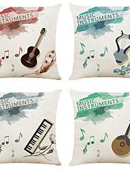 economico -set di 4 modelli di strumenti musicali in lino quadrati decorativi federe per cuscini cuscino del divano copre 18x18