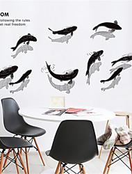 povoljno -kineski tinta male ribe zid naljepnice dnevna soba studija kreativnost osobnost ukrasi spavaća soba samoljepljive pozadine besplatne naljepnice