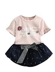 זול -סט של בגדים שרוולים קצרים אחיד / פסים / פרחוני בנות ילדים / פעוטות