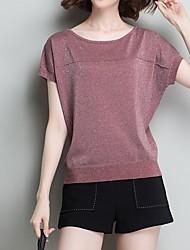 baratos -Mulheres Camiseta Sólido Vermelho L