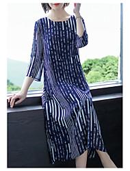 رخيصةأون -قميص نسائي بطول الركبة فستان أزرق m l xl xxl