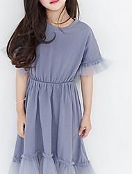 お買い得  -子供 女の子 ベーシック ソリッド 半袖 コットン ドレス ブルー