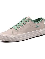 رخيصةأون -نسائي كانفا للربيع والصيف كلاسيكي / شيوع أحذية رياضية المشي كعب مسطخ أمام الحذاء على شكل دائري أسود / البيج