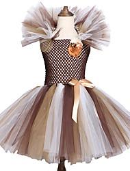 お買い得  -子供 / 幼児 女の子 甘い / かわいいスタイル パッチワーク メッシュ ノースリーブ 膝丈 スパンデックス ドレス ライトブラウン