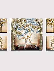hesapli -Boyama Haddelenmiş Kanvas Tablolar - Hayvanlar Çiçek / Botanik Modern Beş Panelli