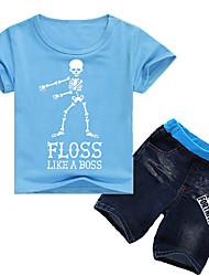 preiswerte -Kinder Jungen Aktiv / Grundlegend Druck Kurzarm Baumwolle / Elasthan Kleidungs Set Purpur