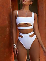 abordables -Mujer Básico Blanco Negro Pícaro Una Pieza Bañadores - Un Color M L XL Blanco