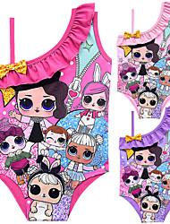 ราคาถูก -ชุดว่ายน้ำ ชุดว่ายน้ำชุดคอสเพลย์ สาวบี สำหรับเด็ก คอสเพลย์และคอสตูม คอสเพลย์ วันฮาโลวีน สีม่วง / สีบานเย็น / สีชมพู Printing Polyster เด็กผู้หญิง วันคริสต์มาส วันฮาโลวีน เทศกาลคานาวาล
