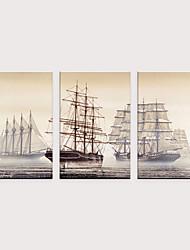 billige -Trykk Valset lerretskunst - Vintage Theme Akvatisk og nautisk Klassisk Tre Paneler