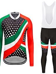 お買い得  -MUBODO 男性用 長袖 ビブタイツ付きサイクリングジャージー 緑 / ブラック バイク スーツウェア 高通気性 速乾性 反射性ストリップ スポーツ メッシュ マウンテンサイクリング ロードバイク 衣類 / 伸縮性あり