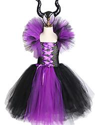 Недорогие -злая королева девушки туту платье с рогами хэллоуин косплей костюм ведьмы