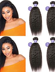Недорогие -4 Связки Малазийские волосы Вытянутые Необработанные натуральные волосы 100% Remy Hair Weave Bundles Головные уборы Человека ткет Волосы Пучок волос 8-28 дюймовый Нейтральный Ткет человеческих волос