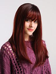 Χαμηλού Κόστους -Συνθετικές Περούκες Κατσαρά Ίσια / Φυσικό ευθεία Στυλ Μικρή έκρηξη Χωρίς κάλυμμα Περούκα Καφέ Μαύρο / καφέ Μαύρο / σκούρο κρασί Συνθετικά μαλλιά 20 inch Γυναικεία / Μαλλιά με ανταύγειες