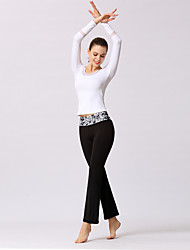 voordelige -Dames Patchwork Yoga pak Wit Zwart Sport 3D Print Sportoutfits Yoga Gym training Lange mouw Sportkleding Lichtgewicht Ademend Sneldrogend Zweetafvoerend Rekbaar