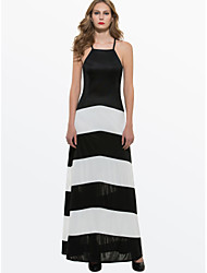preiswerte -A-Linie Spaghetti-Träger Boden-Länge Jersey Kleid mit durch LAN TING Express