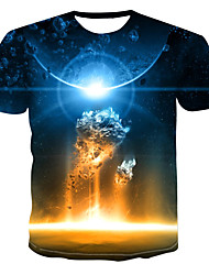 billiga -Tryck, Färgblock / 3D / Djur T-shirt Herr Marinblå XXXXL