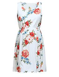 お買い得  -女性用 エレガント シース ドレス - プリント, 幾何学模様 膝上